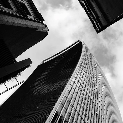 Building Exterior Low Angle View Built Structure Architecture Sky No People Day Cloud - Sky Outdoors City Modern Skyscraper Blackandwhite Streetphotography London