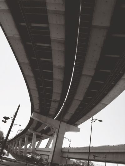 Connection Bridge - Man Made Structure Architecture Built Structure Transportation Low Angle View Outdoors Day Below No People Underneath Good Morning! Rainy Days Make You Coffee