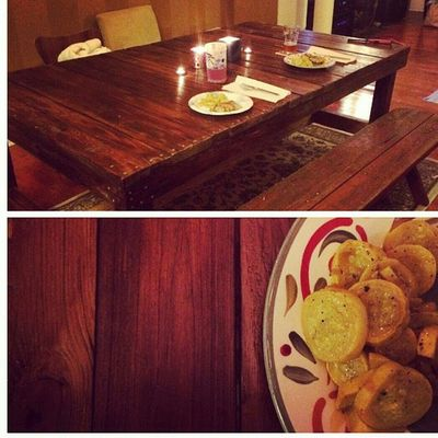 And here is the table from today! These amazing clients sent me a photo during its first dinner voyage! Hingestore Homedecor Harvesttable Reclaimedwood upcycle