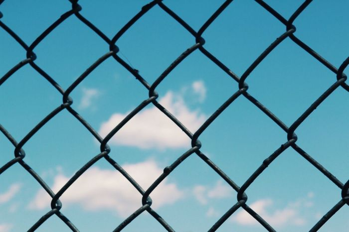 Chainlink Fence Protection Safety Metal Full Frame Pattern Security Backgrounds No People Sky Close-up Day Outdoors Crisscross Seamless Pattern Nature Clear Sky