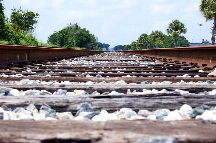 Up close and personal with a train track. Close Up Shot Day Florida Railraod Track Nature No People Outdoors Rail Transportation Railroad Tie Railroad Track Railroad Track Sky Surface Level Train Track Up Close Transportation Tree