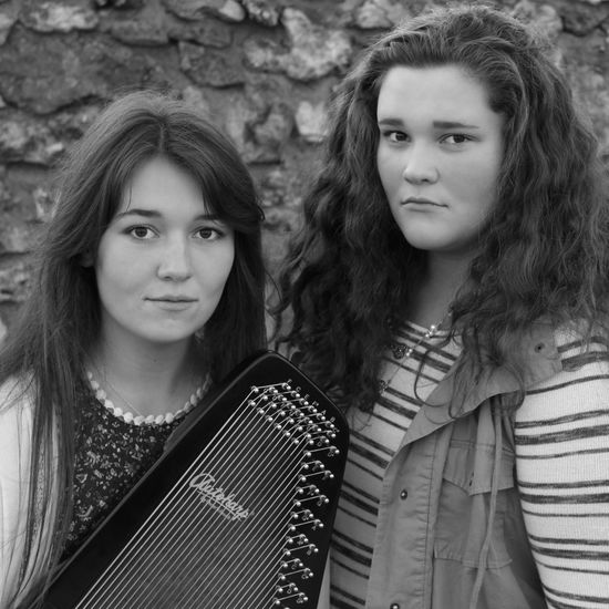 Teenager Teenage Girls Adolescence  Two People Long Hair Friendship People Outdoors Day Adult Music Musician Autoharp Square Format Black & White Black And White HeadshotBeautiful People Human Face Only Women Beauty Girls Women