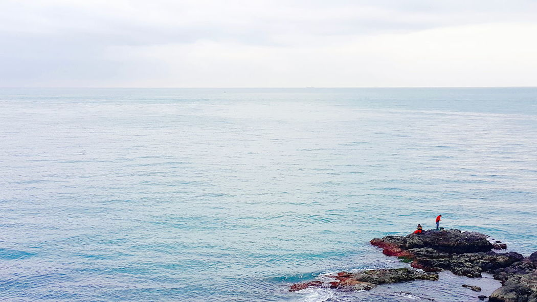 Sea the Sky Sea Sky Seascape Sea And Sky Fishing Seashore Seaside Sea Fishing Rocks Blue Sky Blue Wave Busan South Korea EastSea(South Korea) Cloudy