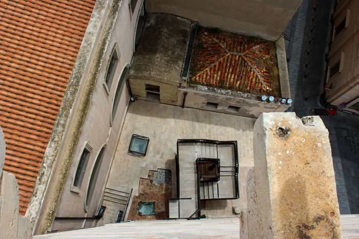 Abandoned Architecture Building Exterior Built Structure Day Down View Elevated View Elevation Fall Falling Height Photography High Angle View No People Outdoors Red Roofs Roof Tower View Tower View Down Vertigo Vertigofeeling Window