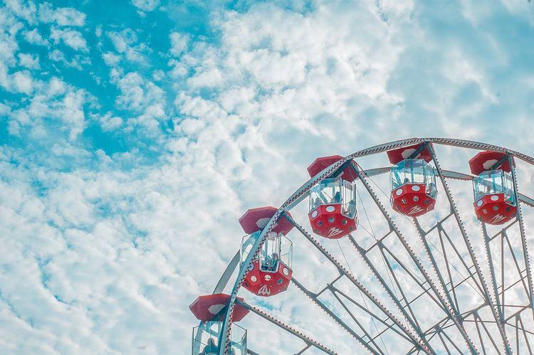 //1325390 Amusement Park Arts Culture And Entertainment Ferris Wheel Amusement Park Ride Red Cloud - Sky Sky Circle Multi Colored Rollercoaster Fun No People Blue Day EyeEm Best Shots EyeEmBestPics Nikon Poland Carousel Summer People