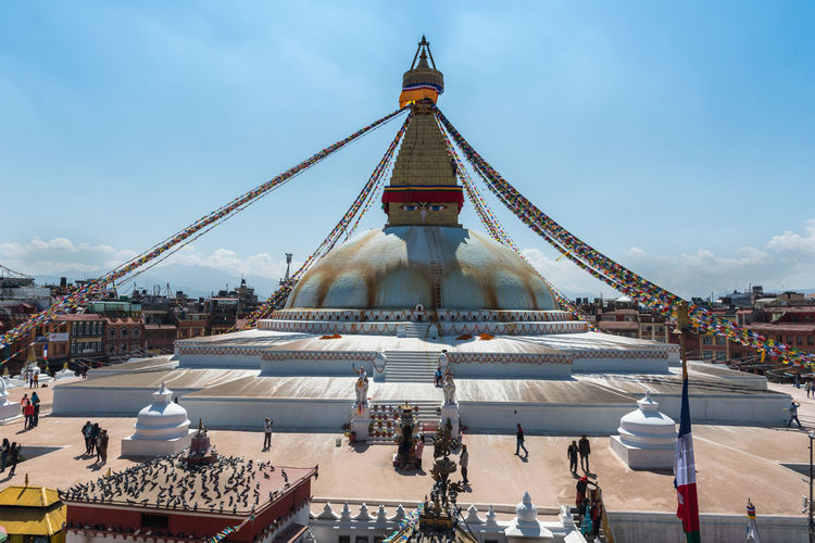 People at boudha stupa, one of the largest stupas in the world in the city of kathmandu in nepal