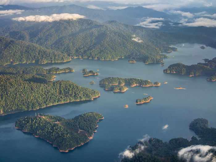 AERIAL VIEW OF SEASCAPE WITH ISLANDS