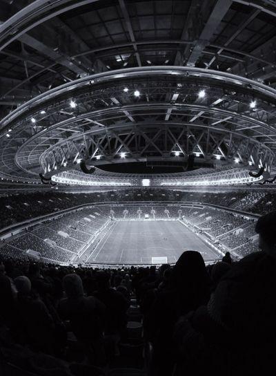 #stadium ⚽ #football #soccer #fullybooked #black&white Blackandwhite Black And White Stadium Football Soccer Stadium Atmosphere City Illuminated Architecture Soccer Field