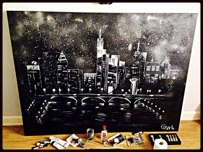 Hello World Urban Art My Art City Skyline after 1,5 years, it's finished. 120cm x 160cm, oil and spray..