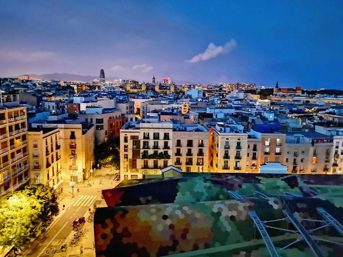 Barcelona City Cityscape Illuminated Sky Architecture Building Exterior Urban Skyline