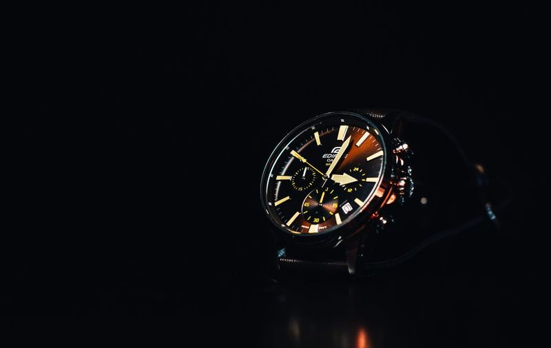 Casio Edifice Watch 2.. Leather Casio Getty Images Eeyem Photography Casiowatch Casioedifice Homestudio  EeyemBestEdits Getty Images Hsphoto Copy Space Illuminated Indoors  No People Black Background Studio Shot Night Lighting Equipment Light Close-up