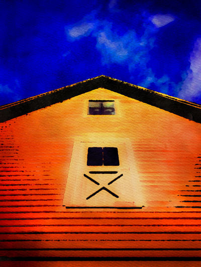IPSPerspective Barn Painterly Red Blue Sky IPhoneography Mobile Photography Mobilephotography IPS2016Blue Iphonephotography Painterly Effect Watercolor Mobile Art Mobileartistry Mobilephoto Iphone6splus