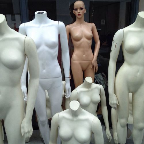 Panoramic shot of mannequin