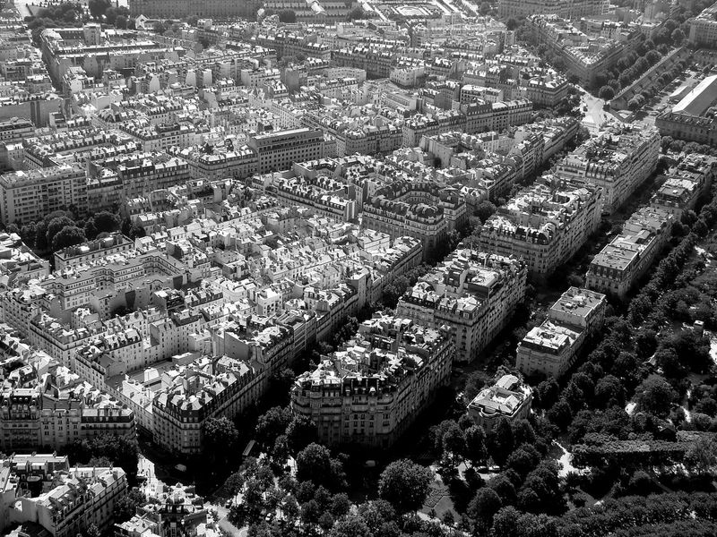 Aerial View Architecture Black And White Black And White Photography Building Exterior Built Structure City Cityscape Crowded Day Development High Angle View Human Settlement Modern Outdoors Residential Building Residential District Travel Destinations View From Eiffel Tower