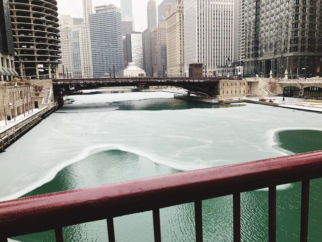 Architecture Water Railing Built Structure Bridge - Man Made Structure River Day Winter Cold Temperature City Skyscraper Outdoors Snow No People Nature