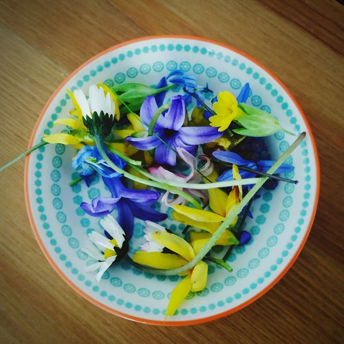 High angle view of purple flowers in plate on table