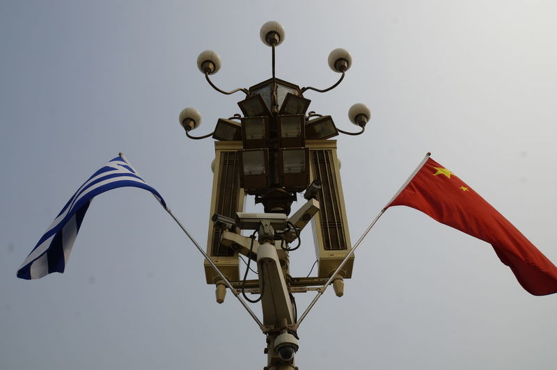 Chinese-Greek relations China Chinese-Greek Relations Clear Sky Day Flag Flying Greece Hanging Low Angle View No People Outdoors Patriotism Sky