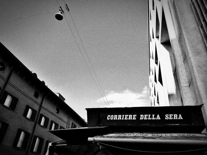 Via Santa Maria Fulcorina, Milano, Dicembre 2018 Blackandwhite Urban City Street Sky And Clouds Newsstand Architecture Building Exterior Built Structure