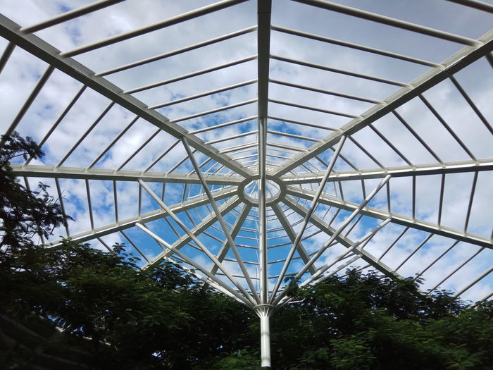 Low Angle View Ceiling Indoors  Architecture No People Pattern Built Structure Day Sky Tree Greenhouse Iron Structure Umbrella Structure