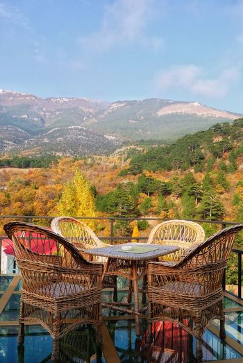 Crimea, Ukraine Vacations Scenics Mountain Cafe Time Tables And Chairs Open Air Open Air Dinner Architecture Rest & Relax Restaurant Glass - Material Mountain Range Landscape Multi Colored Autumn Colors Autumn Autumn Leaves Backgrounds Freshness Beauty In Nature Beautiful View