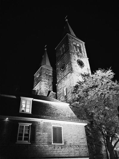 Night Bw_collection BW_photography Nightphotography Schwelm Night Building Exterior Architecture Building Built Structure Low Angle View No People Religion City Illuminated