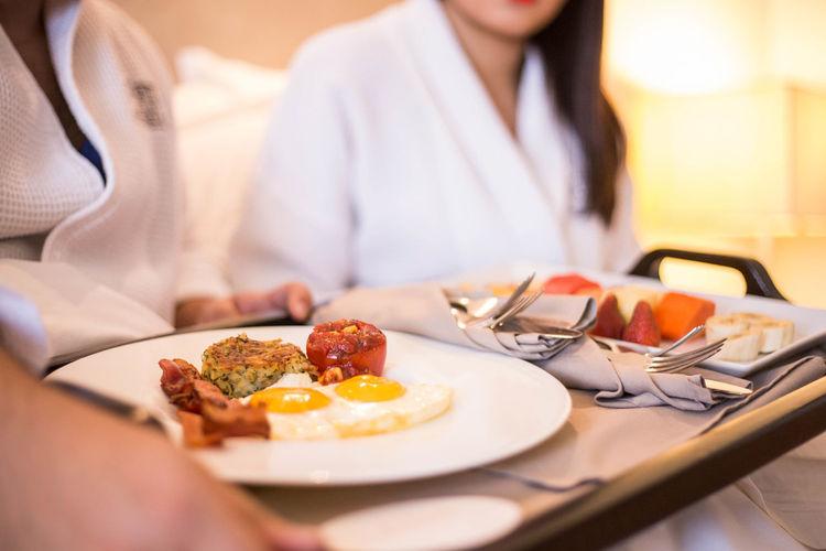 Breakfast at hotel room
