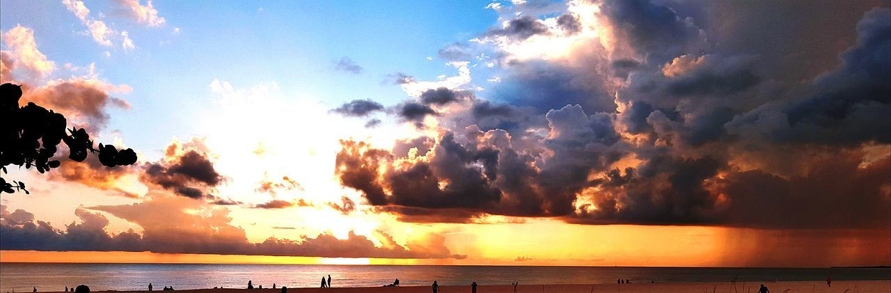 Panorama Panoramic View Sunset Colourful Clouds Stom Thunderstorm Rainstorm Beach Photography Florida Storms Waves, Ocean, Nature Sunset Silhouettes Gulf Of Mexico Beach Beautiful Beauty In Nature Nature Photography