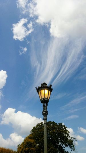 Lamppost and clouds Lamppost Lamppost Stub Sky Sky And Clouds Clouds Clouds And Sky Clouds And Blue Sky White Clouds And Blue Sky Outdoors Outdoor Photography No People Trees Leaves And Sky
