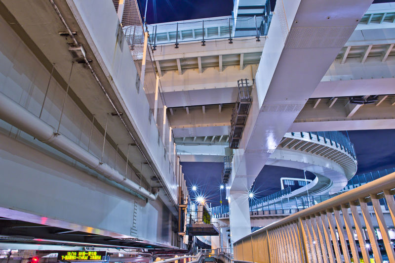 Architecture Built Structure Transportation Building Exterior Bridge Connection Bridge - Man Made Structure Modern Low Angle View City Building Motion Mode Of Transportation Public Transportation No People Railing Day Outdoors Ceiling Japan Japan Photography Highway Yokohama, Japan Night Nightphotography