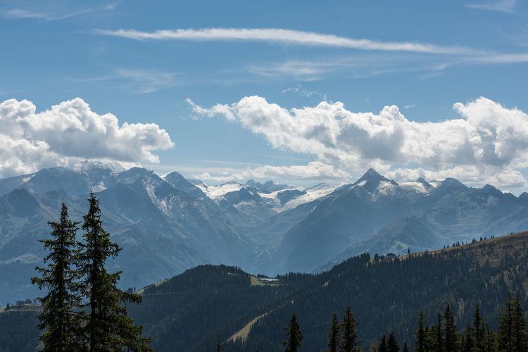Berge Grossglockner HDR Himmel Pinzgau Salzburger Land Schmittenhöhe Spätsommer  Wolken Zell Am See Hohe Tauern Kitzsteinhorn Österreich