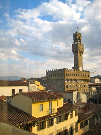 Cityview Cityscape Urban Landscape Historical Building Cultural Heritage Out Of The Window Sky Sky And Clouds Blue Sky White Clouds Firenze No People Roofs Tower Bella Italia In Florence Italy🇮🇹 Paint The Town Yellow