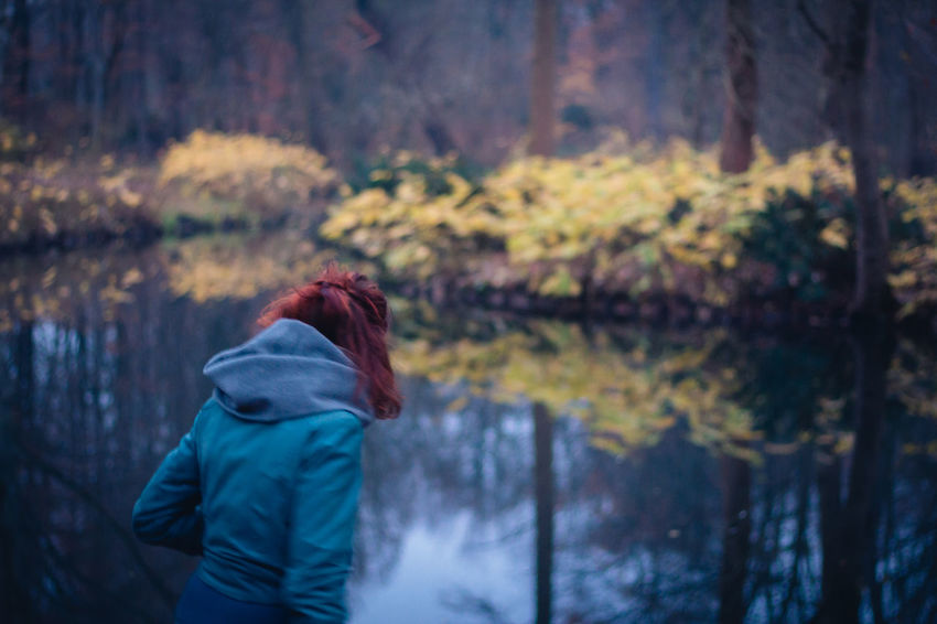 At the lake Berlin Tiergarten Rear View Redhead Autumn One Person Only Women People Nature Outdoors Tree Beauty In Nature Leaf Lifestyles Water Day Photooftheday Pictureoftheday The Week On EyeEm Be. Ready. Press For Progress