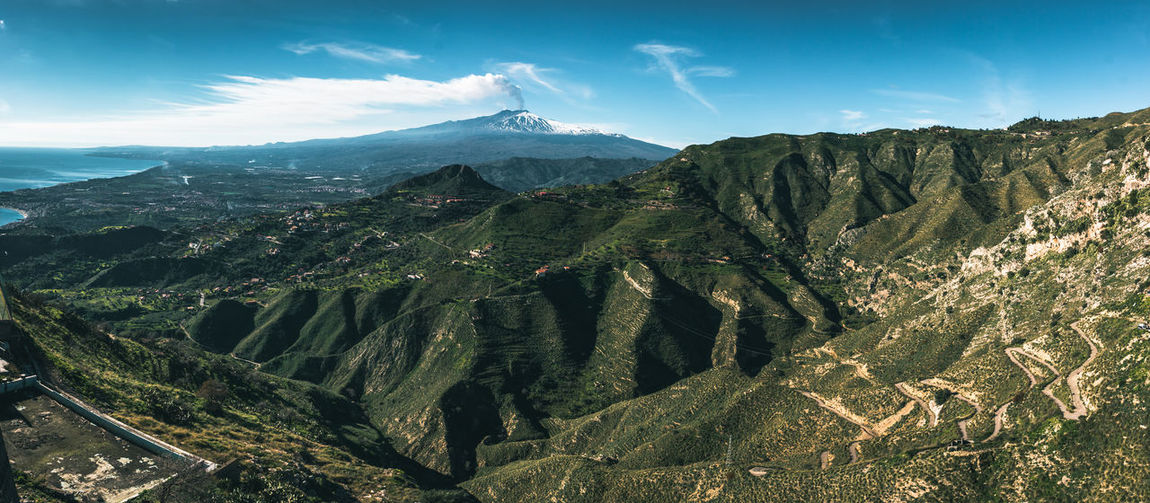 Panoramic view of Volcano Etna from Castelmola, Sicily. Sky Italy Travel Destinations Mediterranean  Sea Europe Landscape Nature Architecture Italian Tourism Volcano Ethereal Castelmola Taormina Messina Summer Canon Church Holiday Cultures Sunset Sunrise Lens Flare History