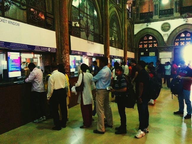 Q Station TicketBooth Ticket Queue CST STATION AWESOMENESS The Incredible INDIA Railway Station