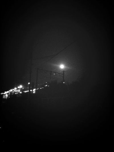 Night Full Moon Train Station Black & White The Street Photographer - 2017 EyeEm Awards