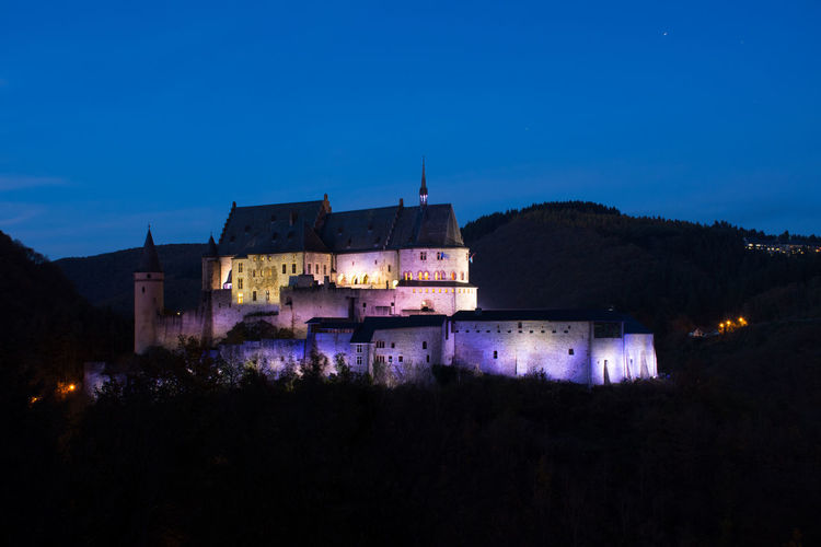 Blue Hour Castle Architecture Building Exterior Built Structure Illuminated Night Vianden Vianden Castle