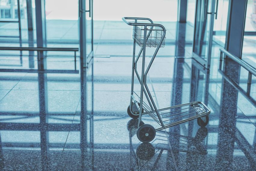Jouney Airplane Airport Checking In Arrival Departure Cart Luggage Baggage Suitcase Push Passenger Travel Baggage Claim Baggage Cart Shopping Cart Hanging Metal Grate Airport Departure Area Airport Terminal Moving Walkway  Airport Check-in Counter Wheeled Luggage Airplane Ticket Transportation Building - Type Of Building Arrival Departure Board