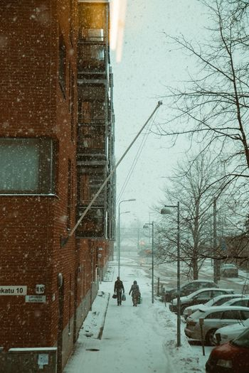 Partner Companion Rear View Couple Street Portrait City In Winter City Street Snowing Snowfall Snow Snow Cold Temperature Winter City Architecture Street Building Exterior Walking Snowing Real People Outdoors It's About The Journey 2018 In One Photograph Streetwise Photography