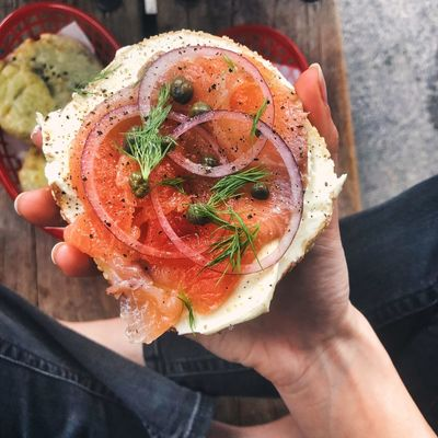 Salmon Lox Bagel Bagel Human Hand Hand One Person Food And Drink Human Body Part Real People Holding
