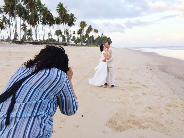 Casal Beach Bonding Noivos Bride And Groom