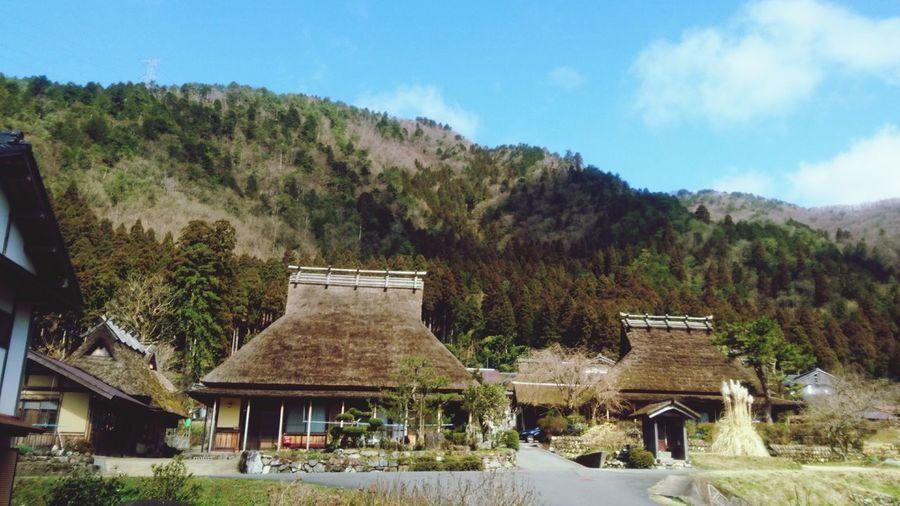 かやぶきの里 Japan Nostalgic  Kyoto,japan かやぶきの里 Kayabuki Tree Blue Sky Architecture Built Structure Thatched Roof Countryside Tranquil Scene