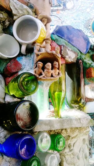 Bottle Figures Scultpture Mosaic Multi Colored Oil Paint Variation Palette Paint High Angle View Art And Craft Close-up