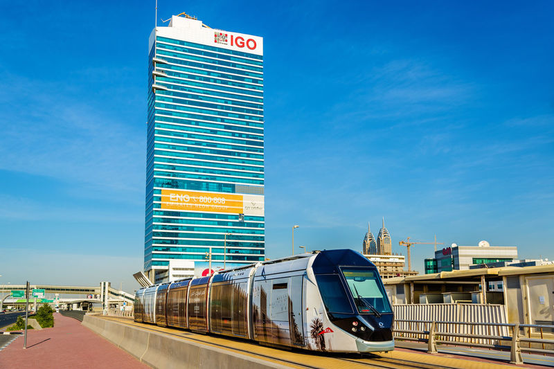 Train against blue sky