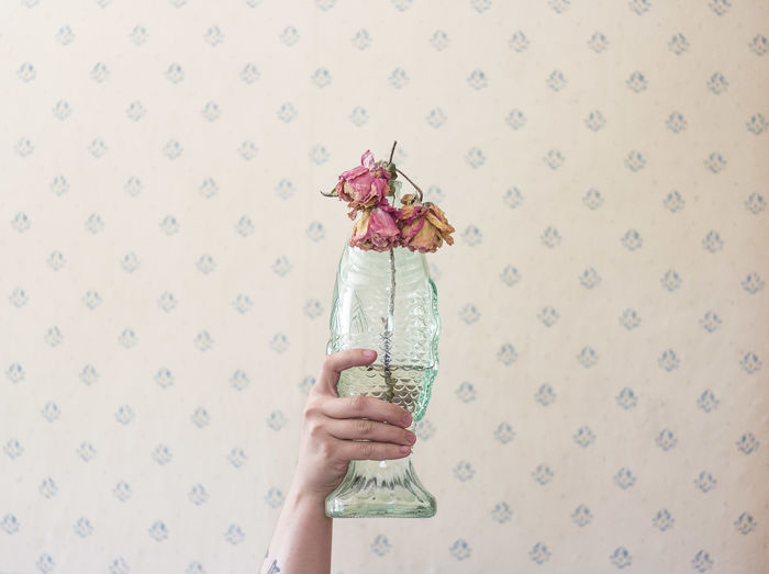 Cropped Hand Of Woman Holding Vase Against Wall