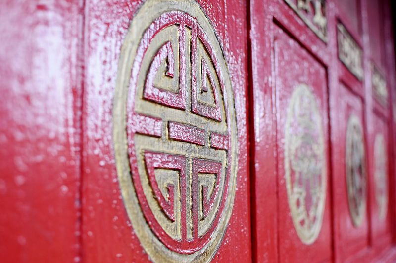 Close-up Communication Door Red China Style China Pagoda Chinese Culture Temple Believe Meditation Mystery Metal No People Indoors  Day Architecture EyeEmNewHere Shibaozhai Pagoda