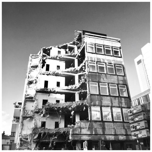 Architecture Building Exterior Low Angle View Built Structure Outdoors Day Clear Sky No People City Sky Demolition Blackandwhite Black And White Friday
