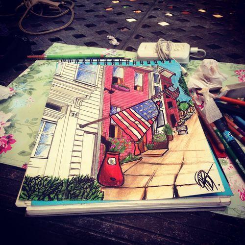 Art Art, Drawing, Creativity Dessin Fresh Produce America American Flag Frenchgirl Girl Colors Artist