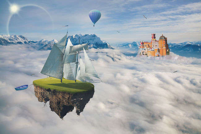 The mystical mountainous landscape with a Castle on the rock and an flying island Flying Islands Air Vehicle Architecture Balloon Beauty In Nature Building Building Exterior Built Structure Cloud - Sky Day Fantasy Flying Mid-air Mode Of Transportation Mountain Mystery Nature No People Outdoors Scenics - Nature Sky Transportation Travel