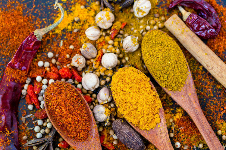 Variation Choice No People Spice Close-up Multi Colored Large Group Of Objects Indoors  Food And Drink Food Plant Directly Above High Angle View Healthcare And Medicine Abundance Nature Turmeric  Dried Food Kitchen Utensil Ingredient Vegetable Spoon Wood Chilli Space