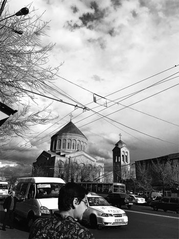 Car Sky Transportation Mode Of Transport Building Exterior Road Built Structure Mobilephotography Iphonephotography Shushannaagapiphoto Shushannaagapi Blackandwhite Lifestyles Church Armenia Transportation Architecture Men Street Outdoors Day City People EyeEmNewHere EyeEm Diversity Art Is Everywhere The Street Photographer